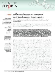 Differential responses to thermal variation between