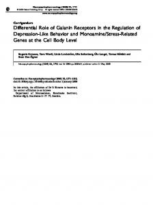 Differential Role of Galanin Receptors in the Regulation of Depression ...