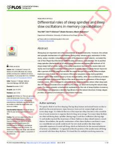 Differential roles of sleep spindles and sleep slow oscillations ... - PLOS