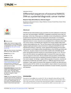 Differential sequences of exosomal NANOG DNA as a ... - PLOS