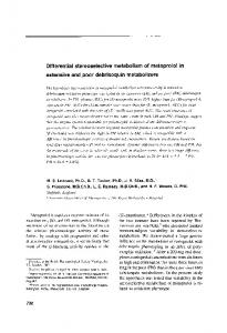 Differential stereoselective metabolism of metoprolol in ... - ASCPT