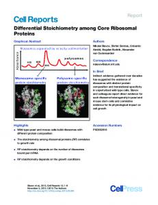 Differential Stoichiometry among Core Ribosomal Proteins
