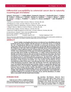 Differential susceptibility to colorectal cancer due to naturally occurring ...