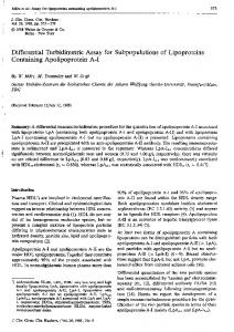 Differential Turbidimetric Assay for Subpopulations of Lipoproteins ...