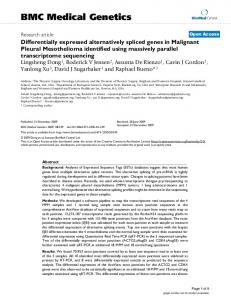 Differentially expressed alternatively spliced genes in Malignant ...