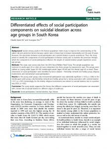 Differentiated effects of social participation ...