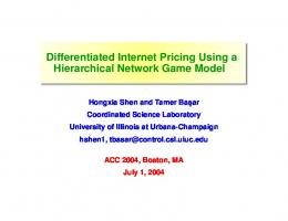 Differentiated Internet Pricing Using a Hierarchical Network Game Model