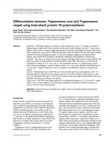 Differentiation between Trypanosoma cruzi and Trypanosoma rangeli ...