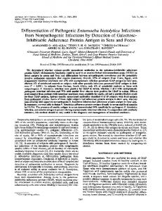 Differentiation of Pathogenic Entamoeba histolytica Infections from ...