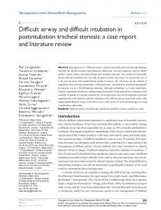 Difficult airway and difficult intubation in postintubation ... - CiteSeerX
