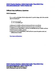 Difficult Data Sufficiency Questions - GMAT Prep From Platinum GMAT