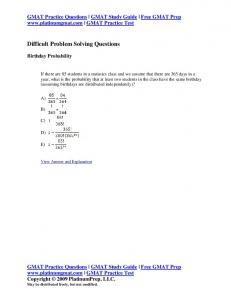 Difficult Problem Solving Questions