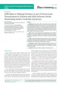 Difficulties in Making Decision on use of Intravenous Thrombolysis in ...