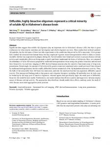 Diffusible, highly bioactive oligomers represent a ...