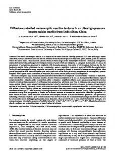 Diffusion-controlled metamorphic reaction textures ... - Ingenta Connect