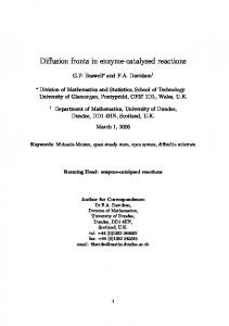 Diffusion fronts in enzyme-catalysed reactions - Division of Mathematics
