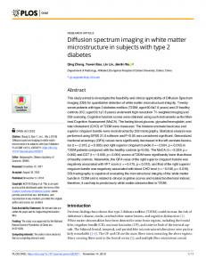 Diffusion spectrum imaging in white matter microstructure in ... - PLOS