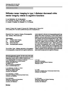 Diffusion tensor imaging in type 1 diabetes: decreased ... - Springer Link