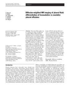 Diffusion-weighted MR imaging of pleural fluid - Springer Link
