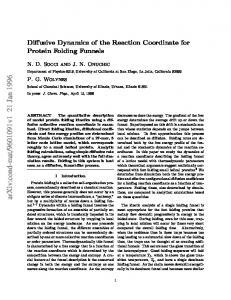Diffusive Dynamics of the Reaction Coordinate for Protein Folding ...