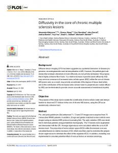 Diffusivity in the core of chronic multiple sclerosis lesions - Plos