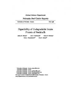 Digestibility of Undegradable Intake Protein of ...