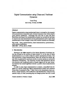 Digital Communication using Chaos and Nonlinear ... - CiteSeerX