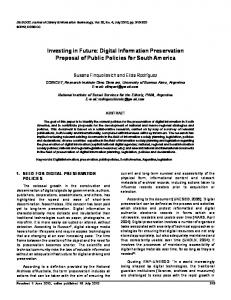 Digital Information Preservation Proposal of Public ... - CiteSeerX