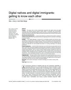Digital natives and digital immigrants: getting to know