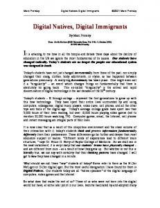 Digital Natives, Digital Immigrants - National Network of State ...