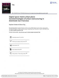 Digital space meets urban place: Sociotechnologies