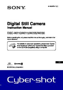 Digital Still Camera Instruction Manual