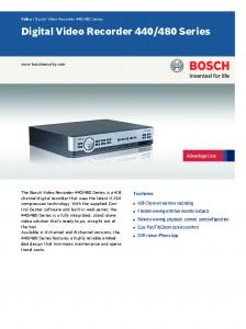 Digital Video Recorder 440/480 Series - Bosch Security Systems