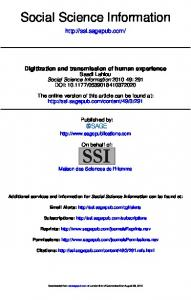 Digitization and transmission of human experience - LSE