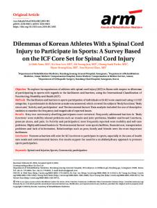 Dilemmas of Korean Athletes With a Spinal Cord ... - KoreaMed Synapse