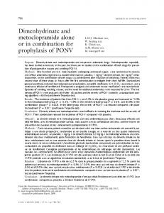 Dimenhydrinate and metoclopramide alone or in ... - Springer Link