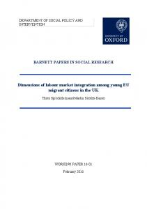 Dimensions of labour market integration among young EU migrant ...