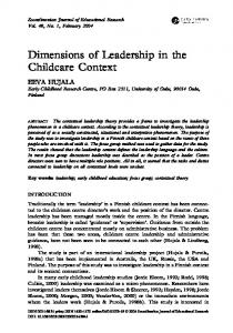 Dimensions of Leadership in the Childcare Context