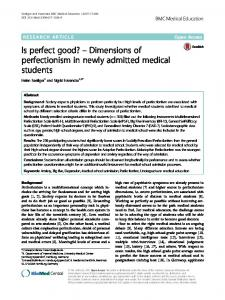 Dimensions of perfectionism in newly admitted medical students