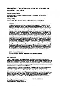 Dimensions of social learning in teacher education - DSpace Open ...