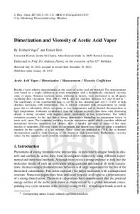 Dimerization and Viscosity of Acetic Acid Vapor