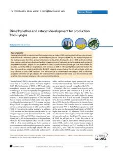 Dimethyl ether and catalyst development for production from syngas