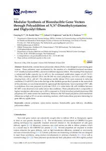 Dimethylcystamine and Diglycidyl Ethers - MDPI