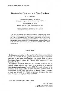 Diophantine Equations and Class Numbers - CiteSeerX