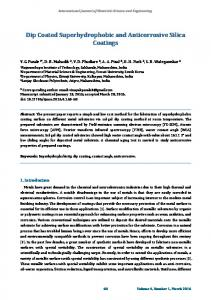 Dip Coated Superhydrophobic and Anticorrosive Silica Coatings