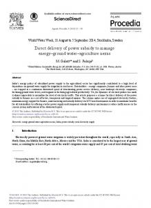 Direct Delivery of Power Subsidy to Manage Energy ... - ScienceDirect