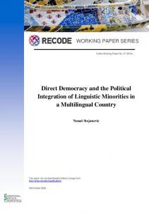 Direct Democracy and the Political Integration of Linguistic Minorities ...