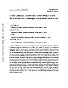Direct Detection Constraints on Dark Matter Event Rates in Neutrino