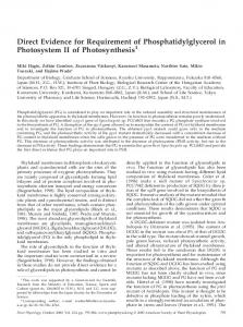 Direct Evidence for Requirement of ... - Plant Physiology