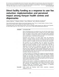 Direct facility funding as a response to user fee reduction